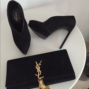 YSL heeled suede boots . Wore once!